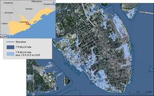 Map that shows Charleston and the potential impact of a seven foot tide combined with 1.6 feet of sea level rise. The combined impact would inundate a substantial portion of the city's coastal areas.