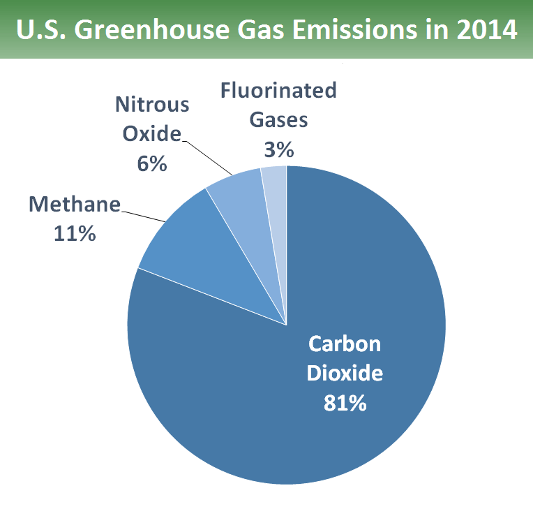 Pie chart that shows different types of gases. 80.9 percent is from carbon dioxide fossil fuel use, deforestation, decay of biomass, etc.  10.6 percent is from methane. 5.9 percent is from nitrous oxide and 2.6 percent is from fluorinated gases.