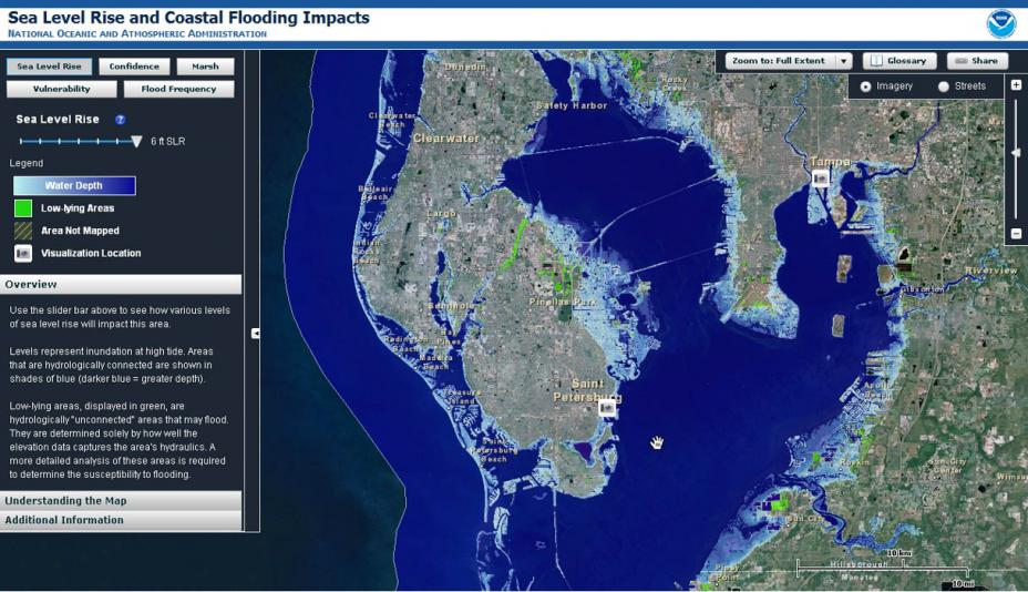 Screenshot of the NOAA sea level rise and coastal flooding impacts tool. The sample map shows a region around Tampa, Florida and a toolbar on the left indicates varying water depths, low-lying areas and other functions of the tool.