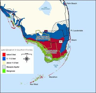 A graphic showing the Biscayne Aquifer and surrounding land in sourthern Florida.