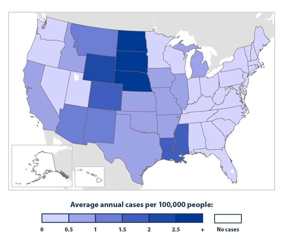 Color-coded map showing the average number of annual cases of neuroinvasive West Nile virus disease by state from 2002 to 2014.