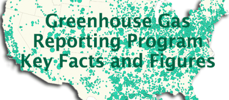 Picture depicting a map of the United States with text reading GHGRP Facts and Figures.