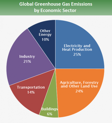 Pie chart showing emissions by sector. 25% is from electricity and heat production; 14% from transport; 6% from residential and commercial buildings; 21% from industry; 24% from agriculture, forestry and other land use; 10% from other energy uses.