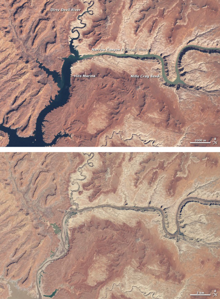 Two satellite images of Lake Powell and Colorado River, one from 1999 and the other from 2014. The 2014 image shows that the lake and river have dried up significantly.